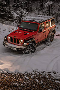 Fotos Jeep Sport Utility Vehicle Rot Schnee 2018-19 Wrangler Unlimited Rubicon Autos