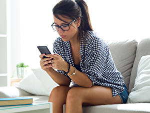Photo Brown haired Glasses Smartphone Sitting Girls