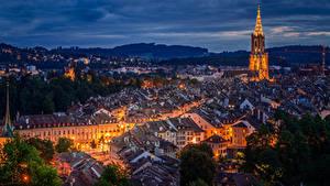 Fotos Bern Schweiz Gebäude Dach Nacht Straßenlaterne Städte