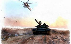 Bilder Panzer Hubschrauber Gezeichnet Russische Syria Heer