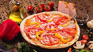 Bilder Fast food Pizza Gemüse Gewürze Bretter