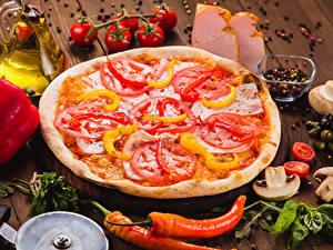 Bilder Fast food Pizza Gemüse Gewürze Bretter Lebensmittel