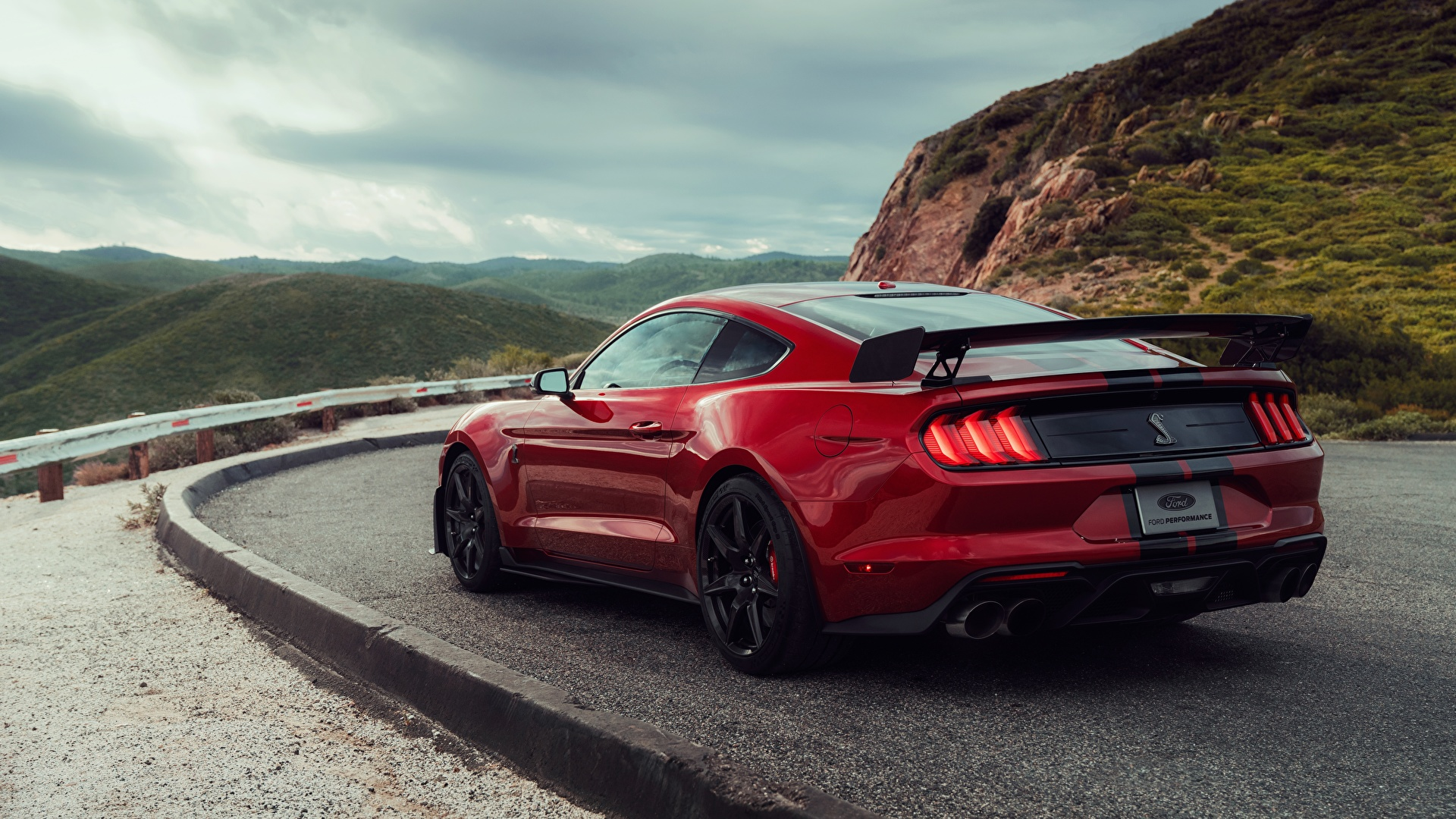 Desktop Wallpapers Ford Mustang Shelby GT500 2019 Red Cars 1920x1080