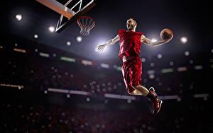 Hintergrundbilder Basketball Mann Ball Sprung Uniform sportliches