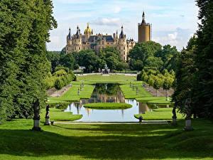 Picture Germany Castles Park Sculptures Pond Lawn Schwerin Castle