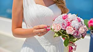 Fotos Sträuße Rosen Hochzeit Hand Ring Blumen