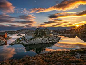 Hintergrundbilder Norwegen Sonnenaufgänge und Sonnenuntergänge Insel Gebäude Himmel Landschaftsfotografie Bucht Wolke Sonne Rogaland