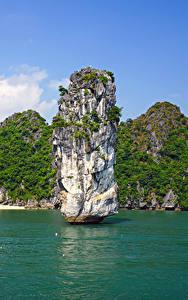 Hintergrundbilder Vietnam Tropen Bucht Felsen Lan Ha Bay Natur