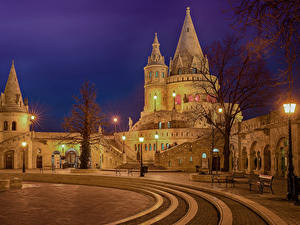 Fotos Budapest Ungarn Burg Springbrunnen Nacht Straßenlaterne Bank (Möbel) Stadtstraße Buda Castle Hill