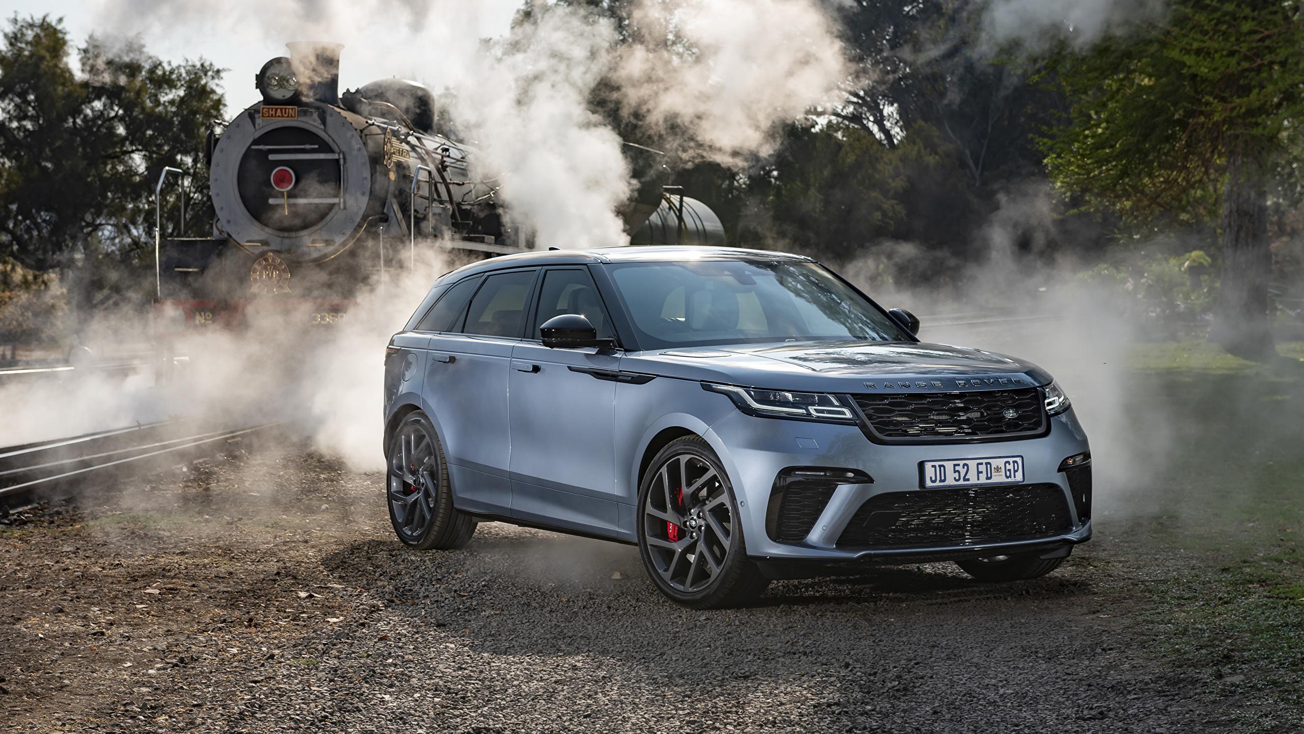 Fotos Land Rover Crossover 2019-20 Velar SVAutobiography Dynamic Edition Grau Autos 2560x1440 Softroader graue graues auto automobil