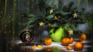 Bilder Neujahr Stillleben Mandarine Ast Kugeln Stern-Dekoration Lebensmittel