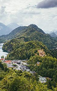 Bilder Deutschland Gebirge See Haus Burg Wälder Landschaftsfotografie Hohenschwangau Bayern Natur