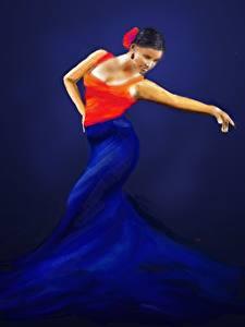 Fotos Gezeichnet Tanz Kleid Mädchens