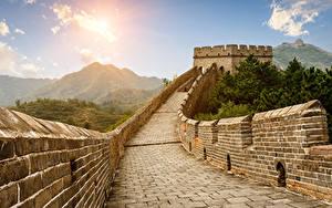 Hintergrundbilder China Chinesische Mauer Gebirge Mauer Städte