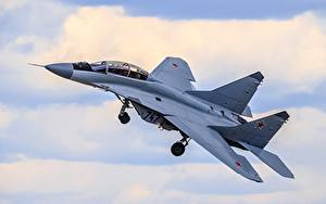 壁纸、、飛行機、戦闘機、ロシアの、飛翔、MiG-35、航空