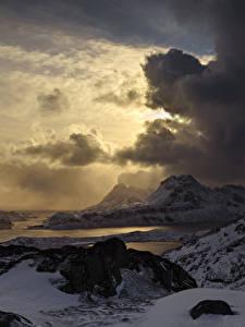 Hintergrundbilder Lofoten Norwegen Küste Winter Gebirge Abend Himmel Wolke Schnee Natur