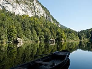 Bilder See Boot Gebirge Wälder Österreich Felsen Alpen Berglsteiner See, Kufstein, Tyrol Natur