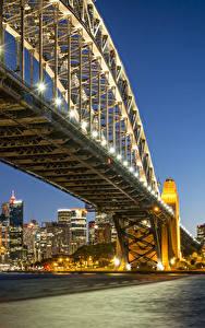 Fotos Australien Gebäude Brücken Sydney Nacht Straßenlaterne Bucht Städte