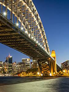 Fotos Australien Gebäude Brücken Sydney Nacht Straßenlaterne Bucht