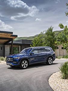 Hintergrundbilder Mercedes-Benz Blau Metallisch 2020 GLS 450 4MATIC auto