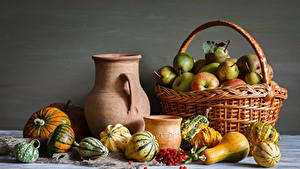 Images Still-life Apples Pears Sorbus Pumpkin Wicker basket Pitcher Food