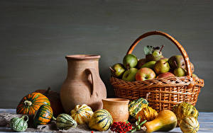 Images Still-life Apples Pears Sorbus Pumpkin Wicker basket Pitcher