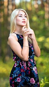 Fotos Unscharfer Hintergrund Posiert Hand Kleid Blondine Nastya