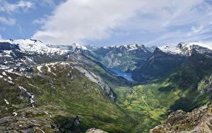 Fotos Norwegen Gebirge Landschaftsfotografie Schnee Wolke Fjord Natur