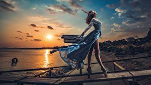 Wallpapers Sunrise and sunset Evening Sky Dress Wind Legs Ballet Model Sun Beautiful Posing Ivan Slavov young woman Nature