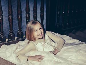 Pictures Little girls Smile Dress Staring Children