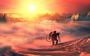 Bilder Mann Fahrrad Sonne Wolke Sport