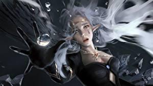 Bilder Elfen Finger Hand Tränen Trübsal WLOP Fantasy