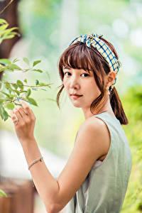 Fotos Asiatische Ast Hand Starren Braune Haare junge frau