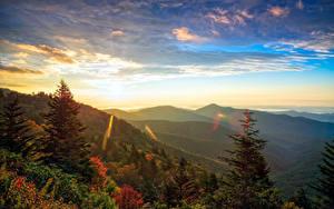 Images USA Sunrises and sunsets Mountains Forests Scenery Spruce Transylvania North Carolina