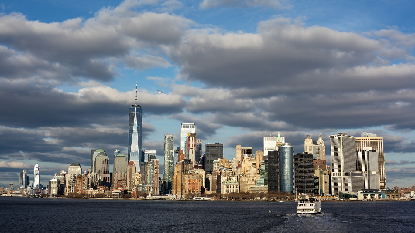 Photo Manhattan New York City Usa Megalopolis Bay Motorboat