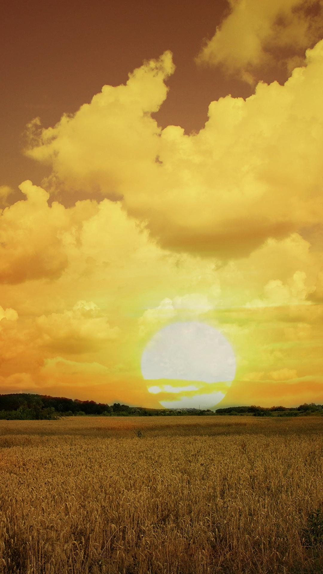 Bilder Natur Sonne Acker Himmel Sonnenaufgänge und Sonnenuntergänge Wolke 1080x1920 Felder