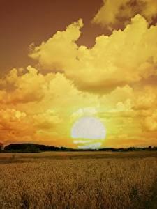 Bilder Acker Himmel Sonnenaufgänge und Sonnenuntergänge Wolke Sonne Natur
