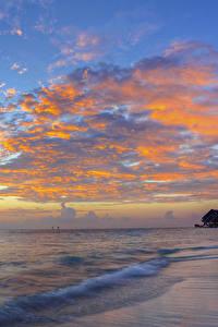 Fotos Sonnenaufgänge und Sonnenuntergänge Meer Küste Himmel Wolke Natur