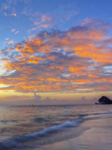 Desktop hintergrundbilder Sonnenaufgänge und Sonnenuntergänge Meer Küste Himmel Wolke Natur