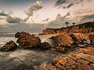 Bilder Israel Abend Küste Meer Felsen Haifa