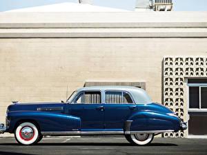 Hintergrundbilder Cadillac Retro Seitlich Blau 1941 Fleetwood Sixty Special Sedan Autos