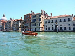 Fotos Italien Gebäude Motorboot Venedig Kanal Canal Grande Städte