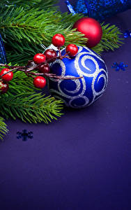 Pictures Christmas Sorbus Branches Balls Snowflakes