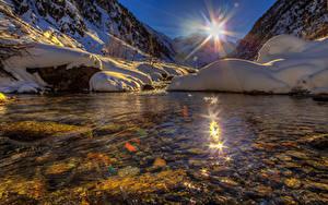 Hintergrundbilder Schweiz See Gebirge Sonne Schnee Goms Natur
