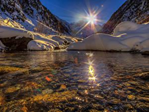 Hintergrundbilder Schweiz See Gebirge Sonne Schnee Goms