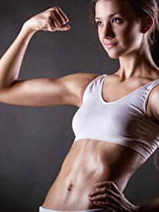 Fotos Fitness Bauch Hand Schön Mädchens