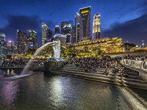 Wallpaper Singapore Park Building Evening Fountains Sculptures Staircase Merlion Park