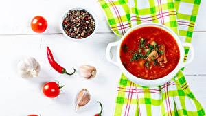 Hintergrundbilder Suppe Tomaten Schwarzer Pfeffer Chili Pfeffer Knoblauch Borschtsch Tischdecke