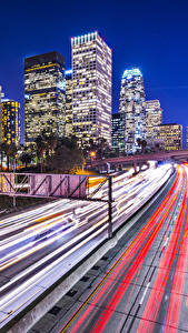 Pictures USA Building Roads Los Angeles Motion Night time Cities