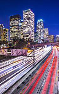 Fotos Vereinigte Staaten Gebäude Straße Los Angeles Bewegung Nacht Städte
